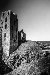 fine art black & white long exposure of Slains Castle (New Slains Castle), Cruden Bay, Aberdeenshire, Scotland