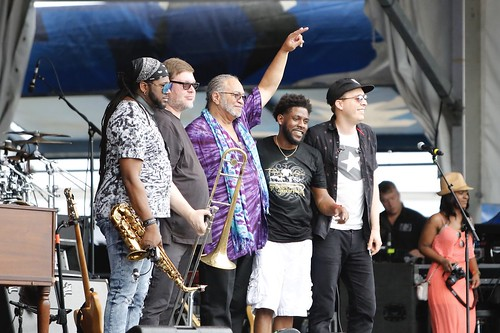 George Porter, Jr. & The Runnin' Pardners at Jazz Fest day 8 - 5.5.19. Photo by Michele Goldfarb.