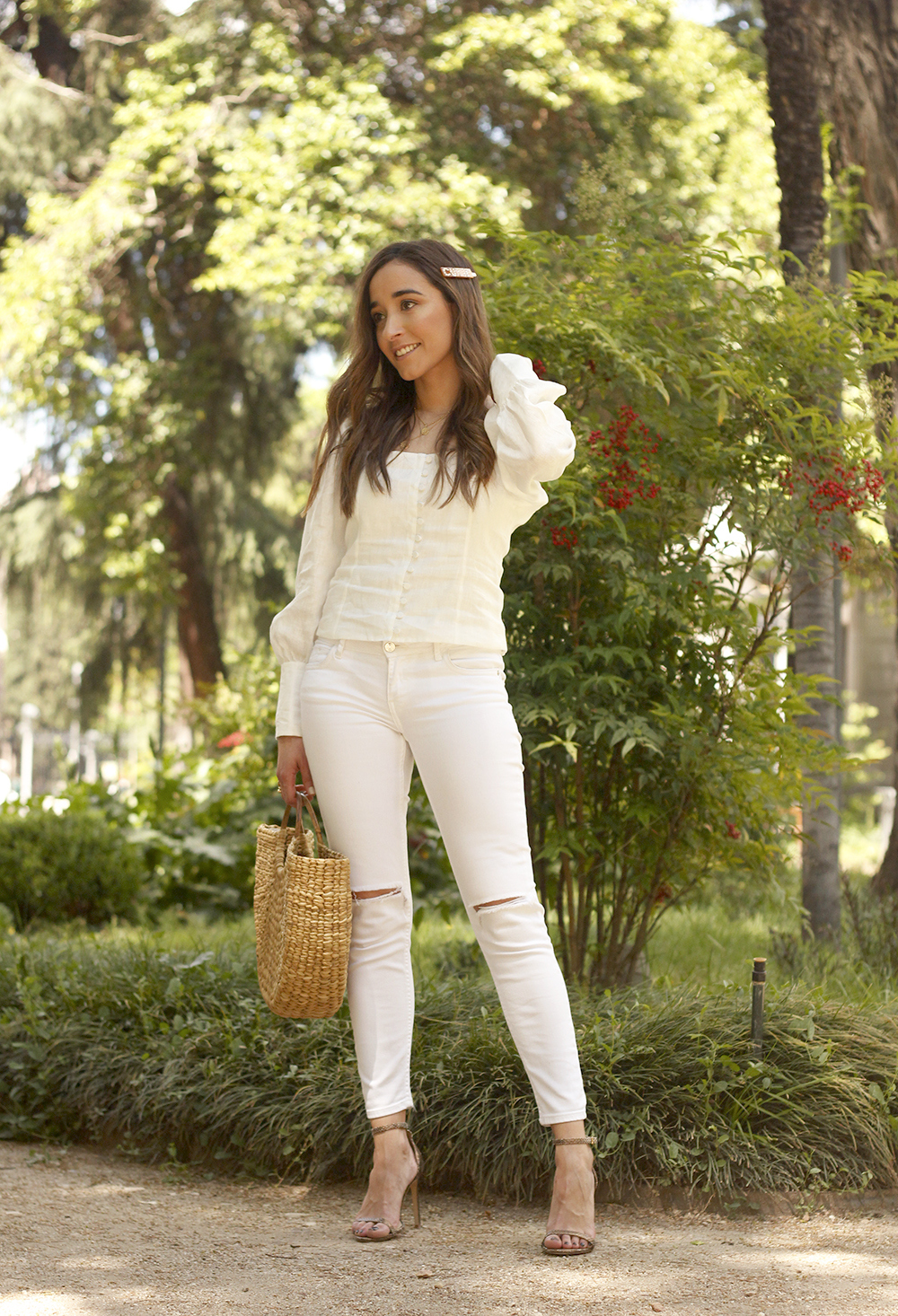 White Linen Top jeansstraw bag street style outfit 20193