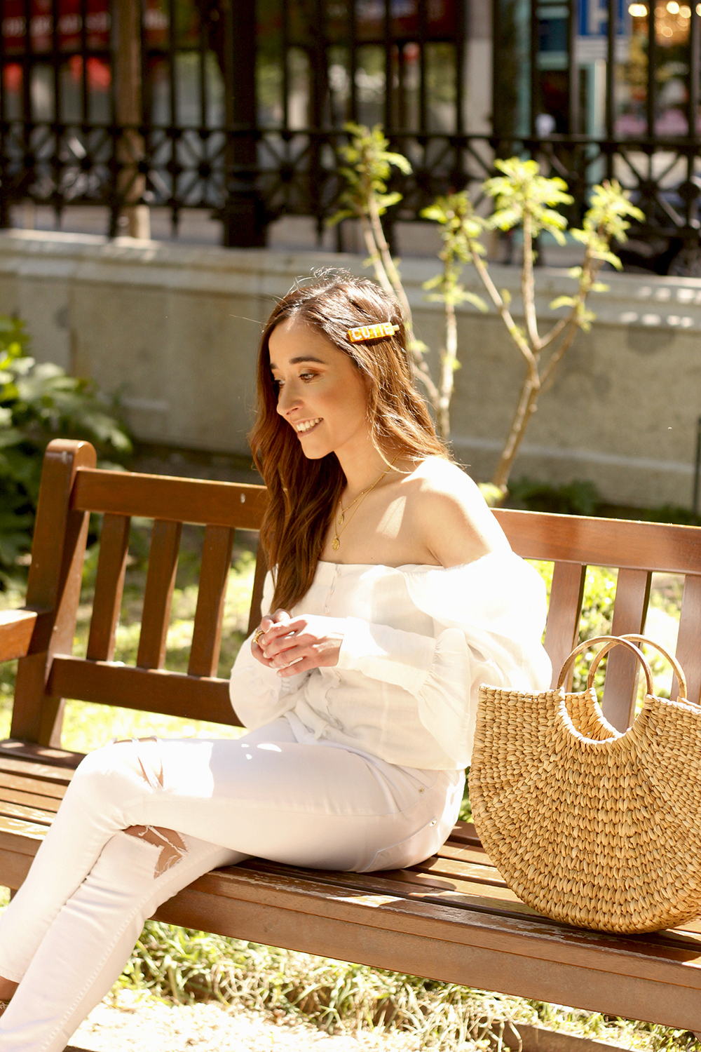 White Linen Top jeansstraw bag street style outfit 201913