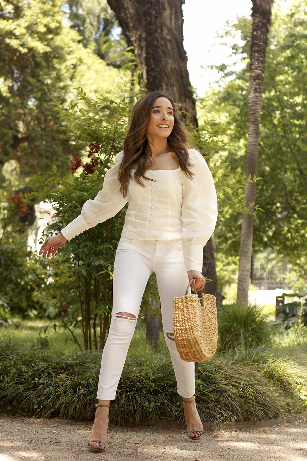 White Linen Top jeansstraw bag street style outfit 20195