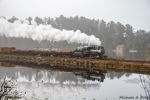 oregon coast scenic railroad steam locomotive freight train tillamook bay tree rock water plc 2 polson logging company reflection barview pond lake