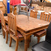 Waxed pine table E200 with 4 chairs