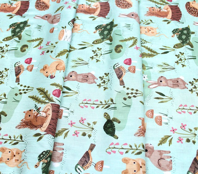 Clothworks Woodland Wander Y2590-109 Rabbit Light Mint