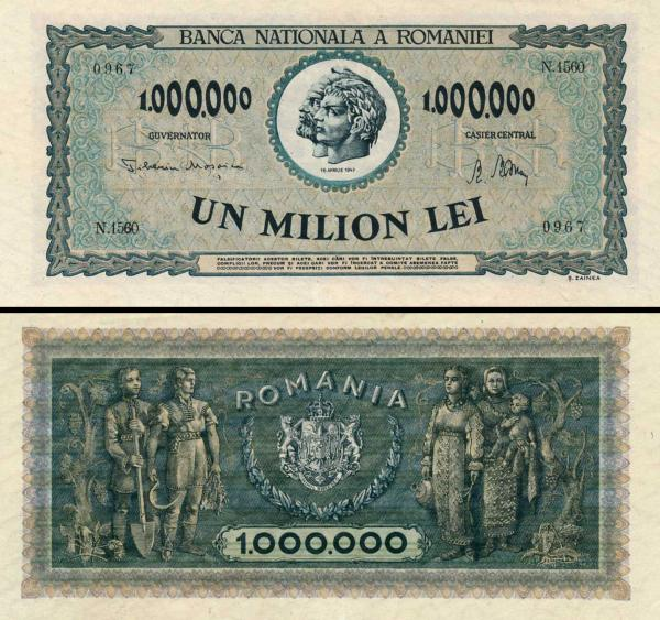 1 000 000 Lei Rumunsko 1947, P60a