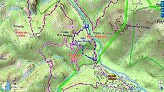 Carte IGN avec le tracé de la restauration du chemin de Luviu pour le PR2 au 11/05/2019