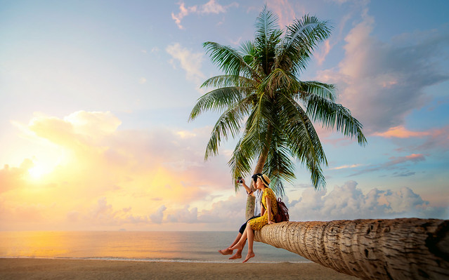 Asian couple selfie by camera on coconut palm tree in Kho Mak island