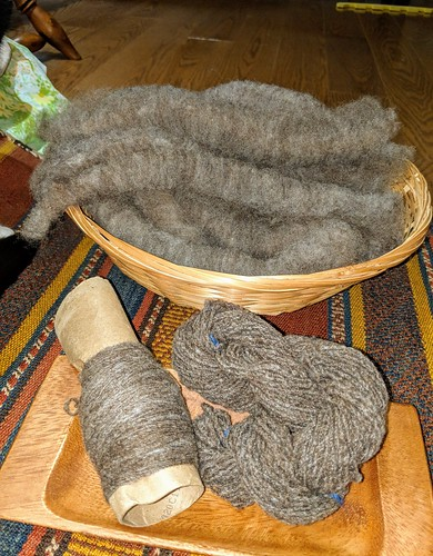 Hand prepared Olde English Babydoll Southdown wool rolags and 4-strand cable handspun by irieknit