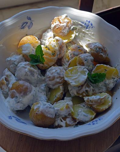 salade de pommes de terre nouvelles à la mint sauce