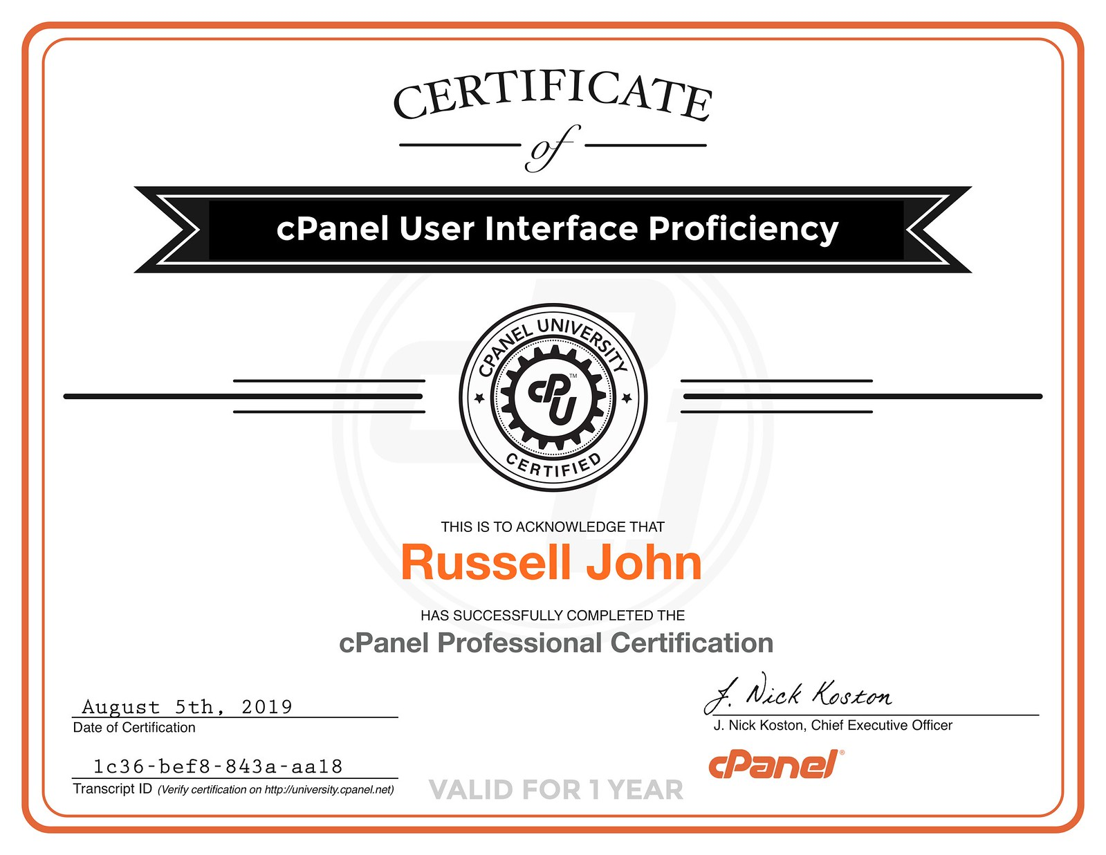 cPanel Professional Certification