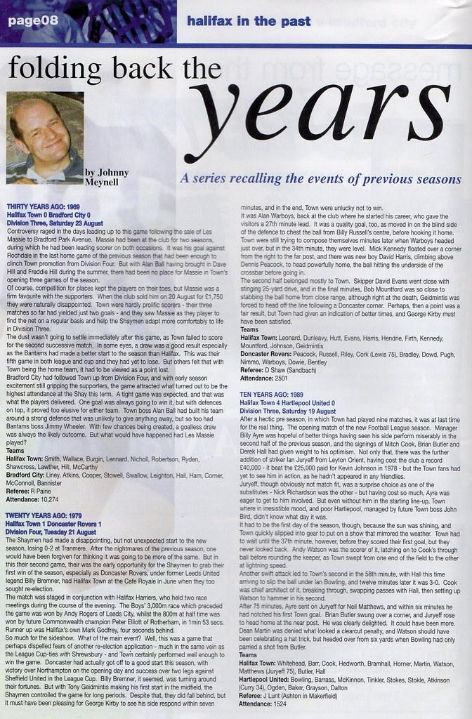 21-08-1999 Halifax Town 0-1 Plymouth Argyle 5