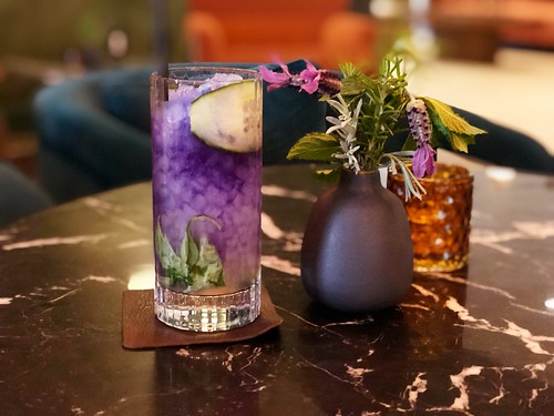 The Forager (Griffo Gin, Italicus Rosolio, Butterfly Pea Tea, Cucumber, Basil, Lime, Fresh Herbs) | by sarahstierch