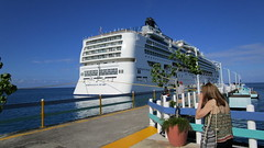 NORWEGIAN PEARL -Waiting for the return of the land excursionists - docked at Ocho Rios harbour