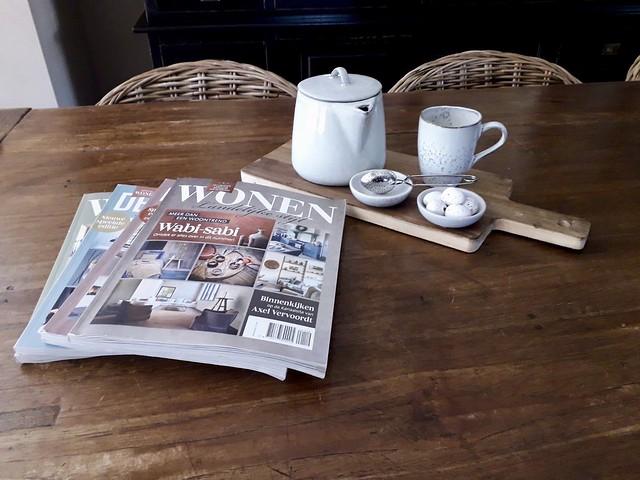 Wonen Landelijke Stijl houten snijplank suiker en melk