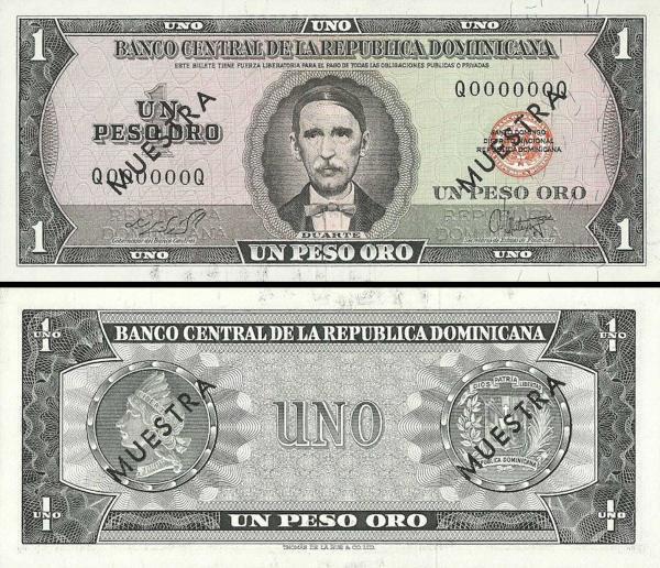 1 Peso Oro Dominikánska republika 1964-65 P99a-s