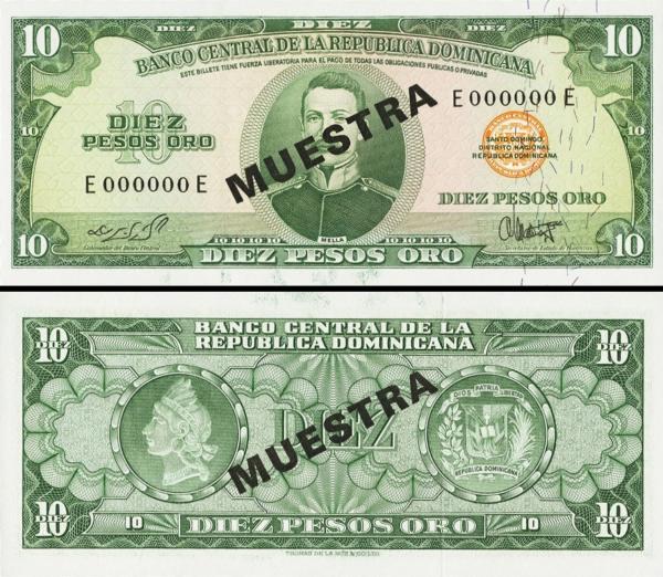 10 Pesos Oro Dominikánska republika 1964 P101a2-s