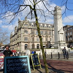 Cafe boards and Cenotaph in Preston