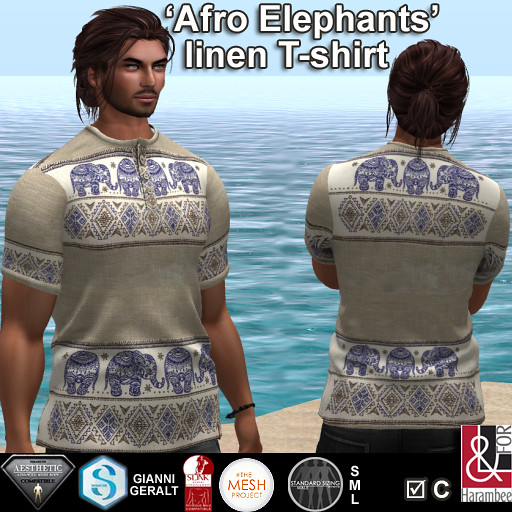 Afro Elephants linen T-shirt