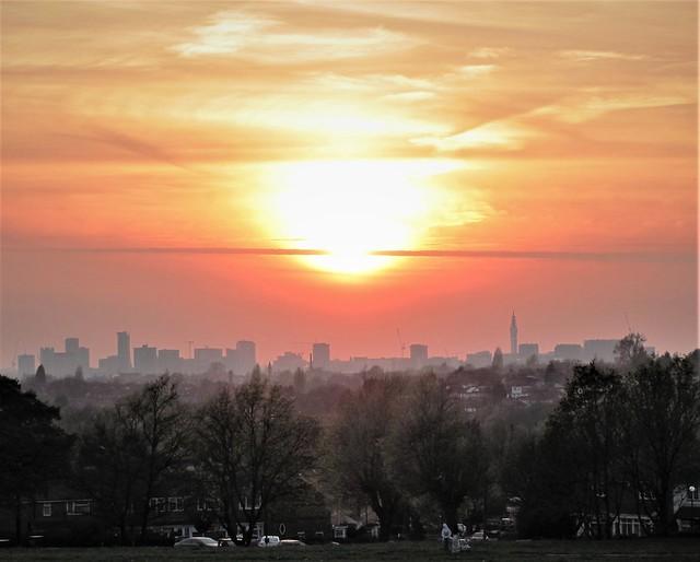 Sunset over Birmingham city centre
