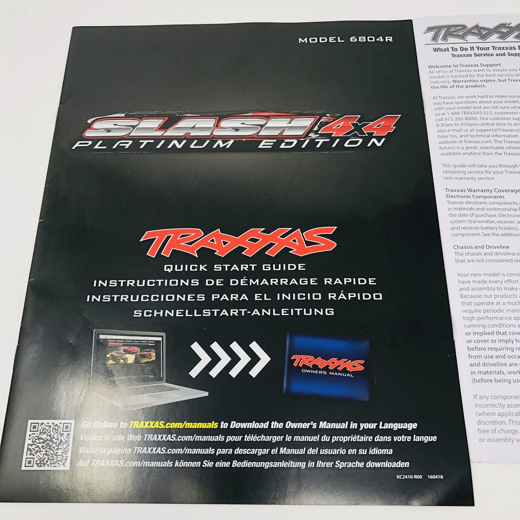 Details about Traxxas Slash 4x4 Platinum Edition Model 6804R Quick Start  Guide Manual Pack New