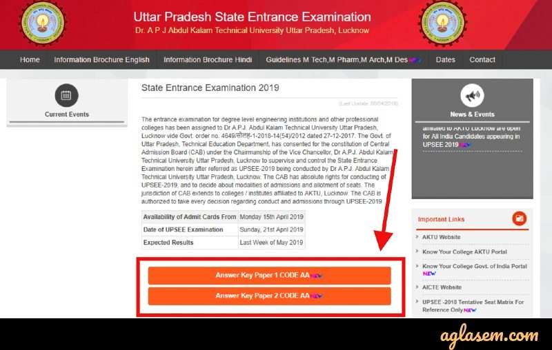 AKTU Releases UPSEE 2019 Answer Key; Download from upsee.nic.in