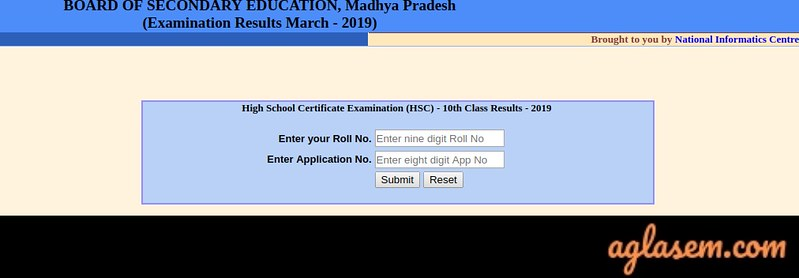 MP 10th Roll Number Result 2019