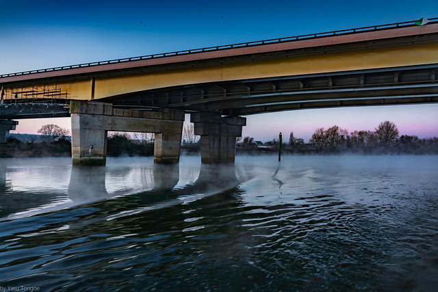 Water under the bridge: Fog and sunrise along the Seine River viewed from a riverboat near Rouen (between Rouen and Les Andelys), Normandy Region, France-8a