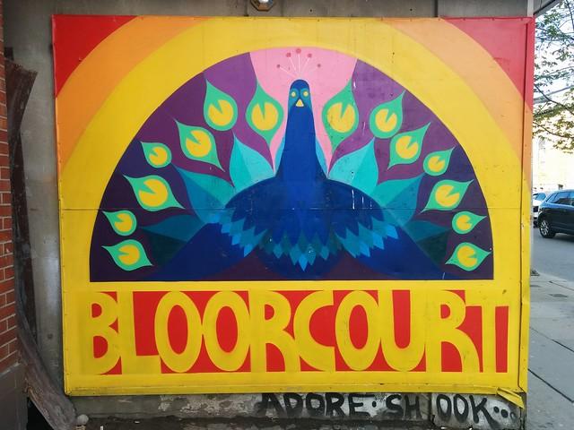 Peacock of Bloorcourt #toronto #bloorcourt #bloorstreeteast #blooranddufferin #publicart #mural #rainbow #birds #peacock #latergram