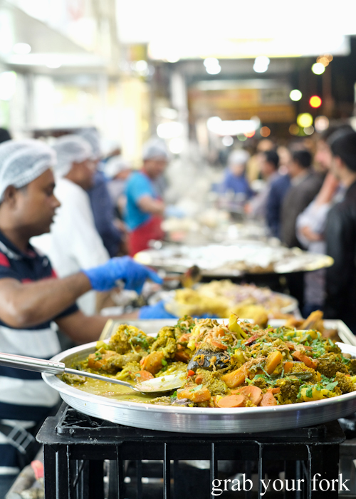 Curries for ifthar at the Ramadan Night Market in Lakemba Sydney