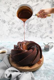 Espresso chocolate cake with Caramélia coffee glaze | by michtsang