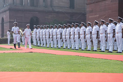 Chief of Naval Operations (CNO) Adm. John Richardson inspects the Indian navy Guard of Honour at South Block lawns in New Delhi, May 13. (U.S. Navy/MC1 Raymond D. Diaz III)