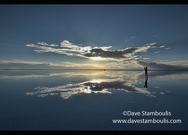 The world's largest mirror, sunset on the salt flats of the Salar de Uyuni, Bolivia
