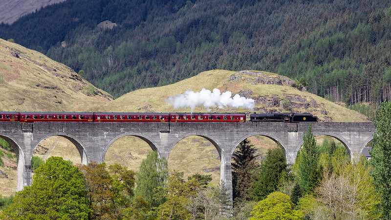 IMG_5609 Jacobite Steam Train going over Glenfinnan Viaduct