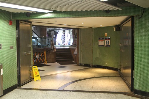 Flood doors at Jordan station Exit E leading to the Prudential Centre
