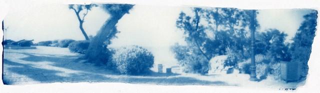 Yafo pano cyanotype on thin Mulberry paper