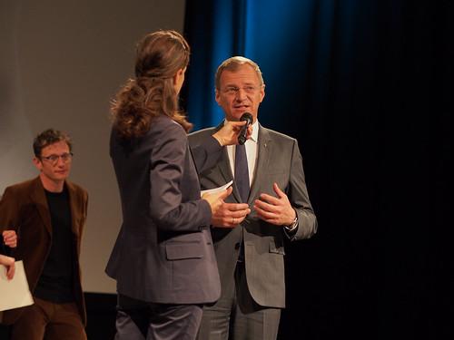 CE19 – awards ceremony // Sebastian Markt (Jury - Local Artist), Moderator Karin Schmid, Thomas Stelzer (Governor of the Federal Province of Upper Austria) // photo © Michael Straub / subtext.at
