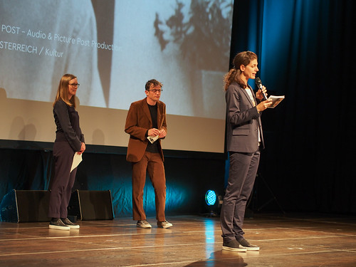 CE19 – awards ceremony // Jury - Local Artist (Sebastian Markt, Katharina Weinberger-Lootsma), Moderator Karin Schmid // photo © Michael Straub / subtext.at
