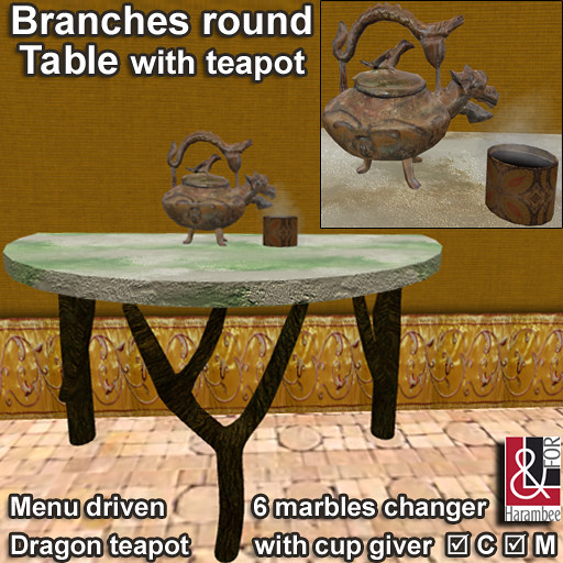 Branches round Table & teapot