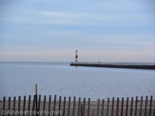 The pier and lighthouse at Charlotte from Ontario Beach Park in Rochester, New York