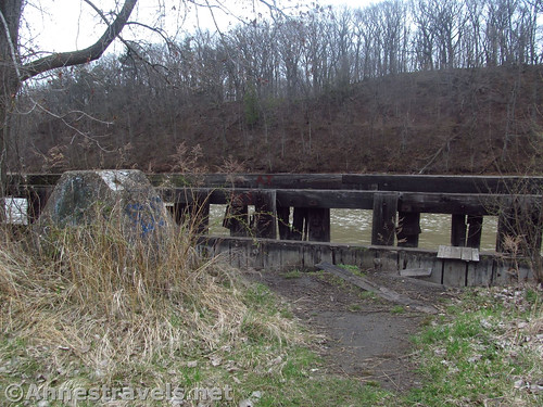 Parts of old docks along the Genesee River below the Genesee Riverway Trail in Turning Point Park, Rochester, New York