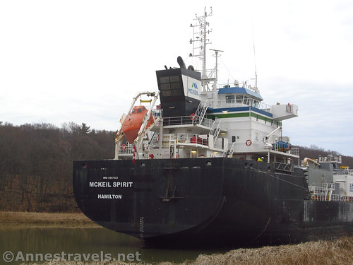 The McKeil Spirit, a laker from Hamilton, Ontario, unloading cement at the last active dock along the north end of the Genesee River, Rochester, New York