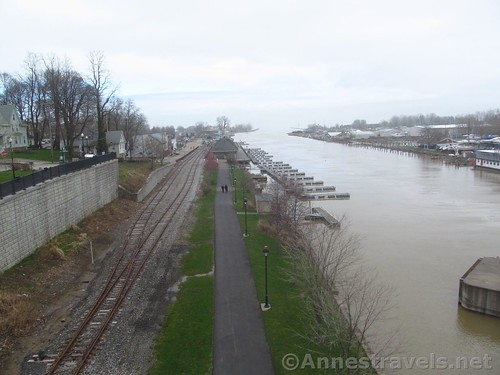Looking down on the Genesee Riverway Trail and toward the Port of Rochester from the drawbridge in Charlotte, New York