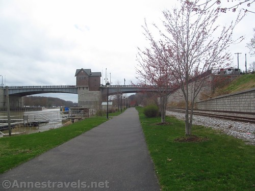 Heading for the drawbridge. You're really on the Genesee Riverway Trail at this point. Rochester, New York