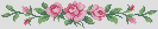 Preview of Cross stitch Roses Line Border chart to download