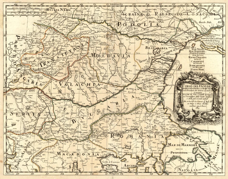 1684. Течение Дуная от Белграда до Черного моря, Джованни Джакомо де Росси