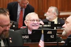 Rep. Simanski talks with Rep. Vail during the 2019 legislative session