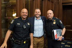 Waterbury Police officer Mike Digiovancarlo, Rep. Joe Polletta and Waterbury Police Capt. Dan Lauer in the House of Representatives.