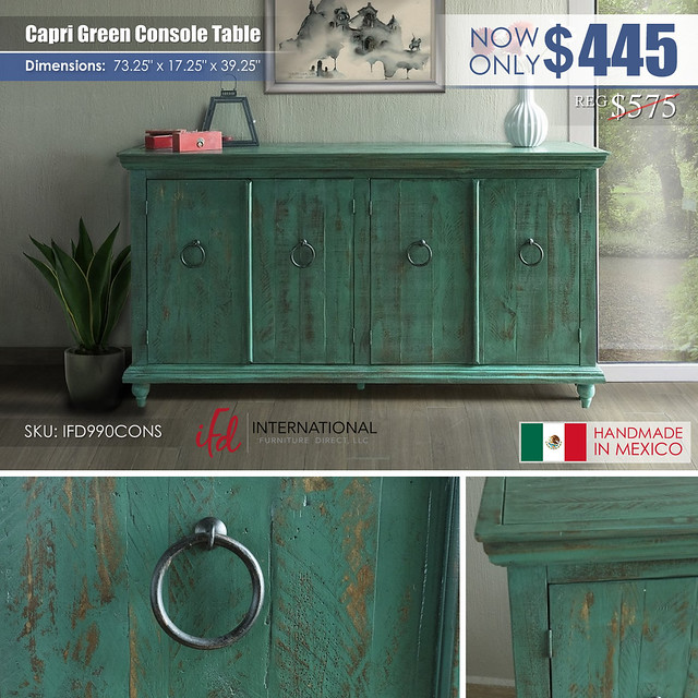 Capri Green Console Table_IFD990CONS