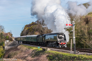 34092 - 257 Squadron approaching Corfe Castle Station