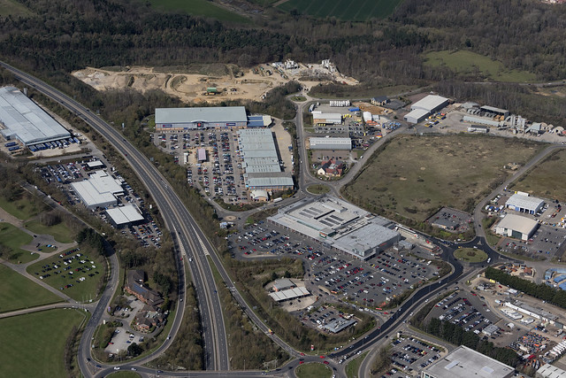Aerial view of Longwater Retail Park in Norwich - Norfolk UK